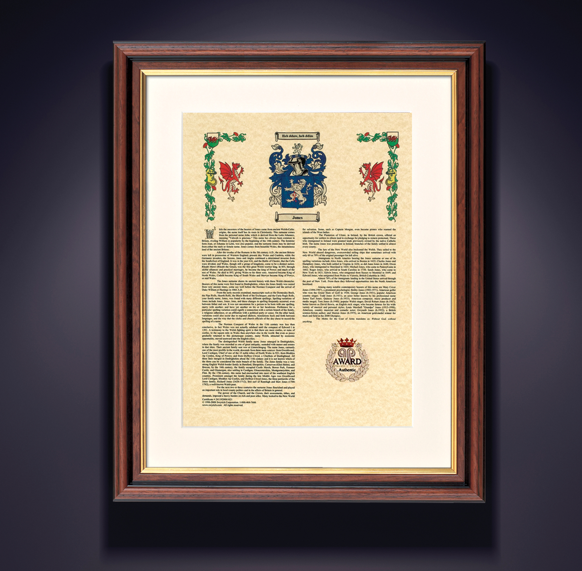 Outstanding Family Crest Framed Composition - Framed Art Ideas ...